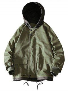 Colorblock Flap Pocket Raglan Sleeve Hooded Jacket - Army Green M