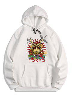 Animal Graphic Printed Oriental Fleece Hoodie - White S