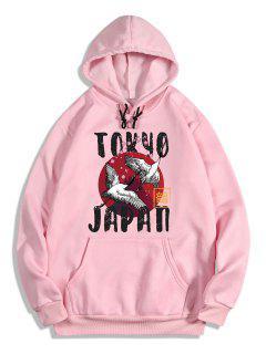 Letters Crane Print Oriental Fleece Hoodie - Pig Pink M