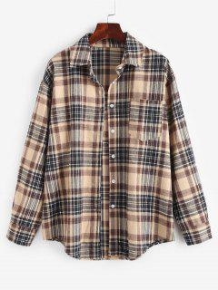 Plaid Pocket Boyfriend Shirt - Light Coffee Xl