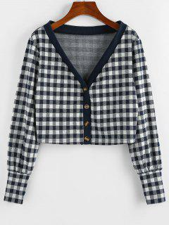 ZAFUL Plaid Plunge Long Cuff Knit Cardigan - Dark Slate Blue L