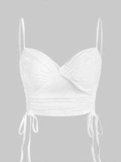 Ribbed Cinched Bustier Crop Top - White S
