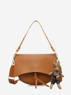 Rabbit Pendant Semicircle Crossbody Bag - Brown