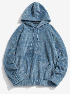 Front Pocket Letter Patch Plush Hoodie - Blue L