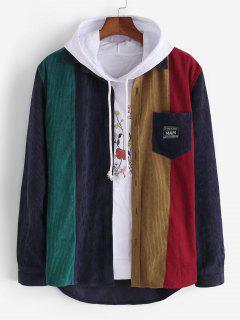 Colorblock Patchwork Corduroy Shirt - Deep Blue S