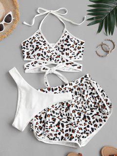 ZAFUL Gerippte Leopard Dreiteilige Stück Wickel Bikini Badebekleidung - Weiß L