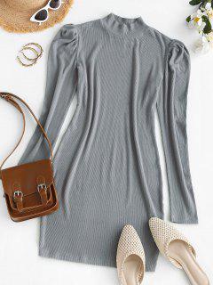 ZAFUL Mock Neck Ribbed Puff Sleeve Slinky Dress - Light Gray M