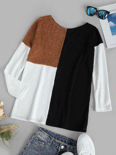 Colorblock Drop Shoulder Knitted Top - Black Xl