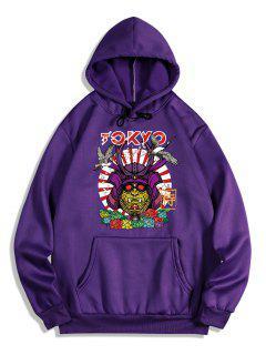 Graphic Print Oriental Fleece Hoodie - Purple Iris S
