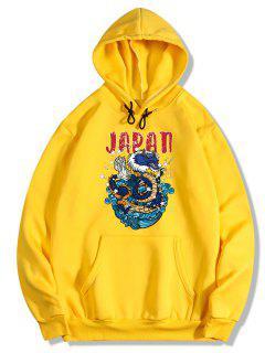 Dragon Letter Print Oriental Fleece Hoodie - Bright Yellow L