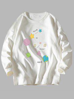 Stern Planet Sweatshirt Mit Rundhalsausschnitt - Weiß Xl