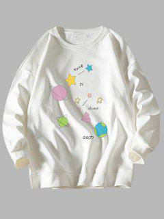 Star Planet Slogan Print Crew Neck Sweatshirt - White M