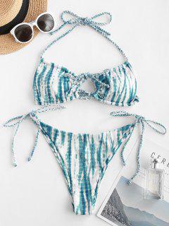ZAFUL Bikini Acanalado De Ojo De Cerradura - Azul S