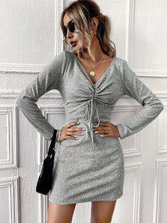 Long Sleeves Mini Knitted Dress With Cinched - Gray L