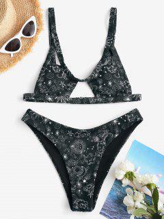 ZAFUL Gerippter Sonnen Mond Stern Constellation Bikini Badebekleidung Mit Ausschnitt - Schwarz M