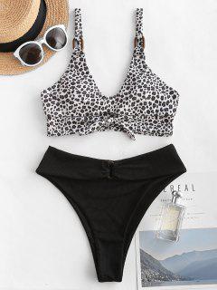 ZAFUL Ribbed Leopard Tied Rings High Leg Tankini Swimwear - Black S
