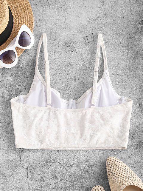 fashion ZAFUL Underwire Velvet Cami Swim Top - WHITE S Mobile