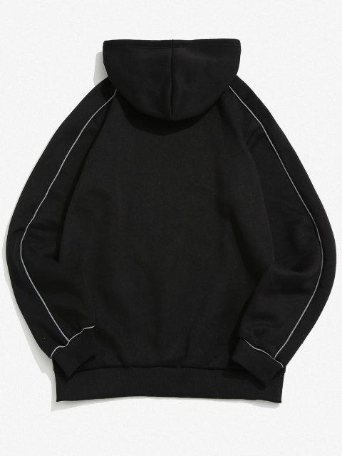 women Laser Front Pocket Letter Print Fleece Hoodie - BLACK M Mobile