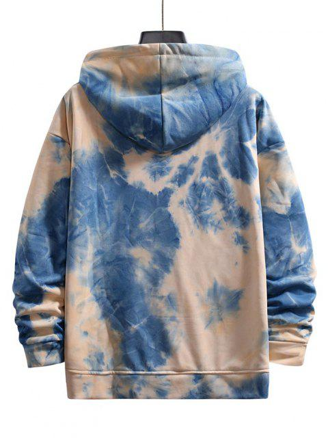 buy Tie Dye Drop Shoulder Hooded Jacket - LIGHT BLUE 4XL Mobile
