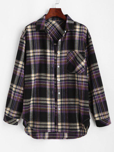 chic Front Pocket Plaid Tartan Flannel Shirt - BLACK L Mobile