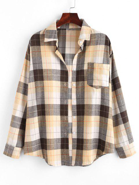 shop Plaid Boyfriend Shirt - LIGHT COFFEE XL Mobile