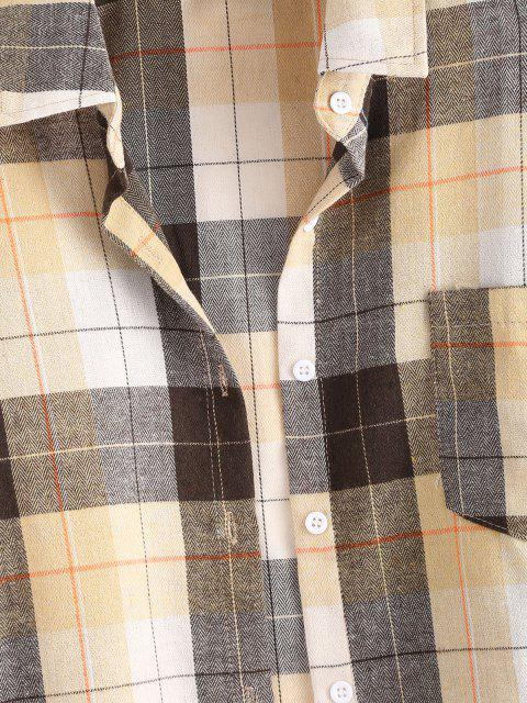 latest Plaid Boyfriend Shirt - LIGHT COFFEE XS Mobile