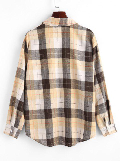 chic Plaid Boyfriend Shirt - LIGHT COFFEE L Mobile