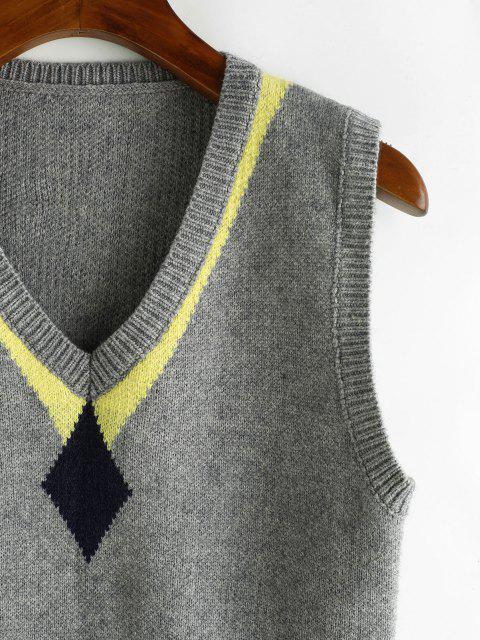 latest Geometry V Neck Sweater Vest - GRAY GOOSE ONE SIZE Mobile
