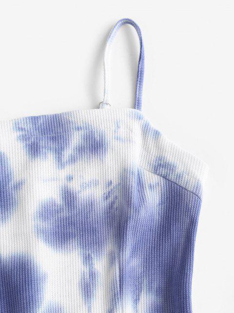 Krawattenfärbendes Gestrickte Mini A-Linie Kleid - Helles Schieferblau L Mobile