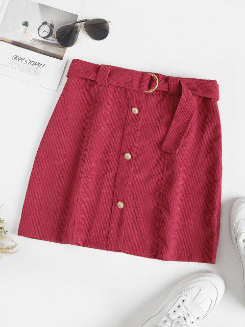 unique Metallic Button Belted Corduroy Mini Skirt - RED WINE M Mobile