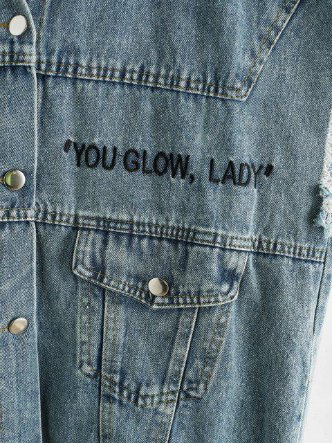ladies YOU GLOW Embroidered Frayed Denim Waistcoat - LIGHT BLUE ONE SIZE Mobile