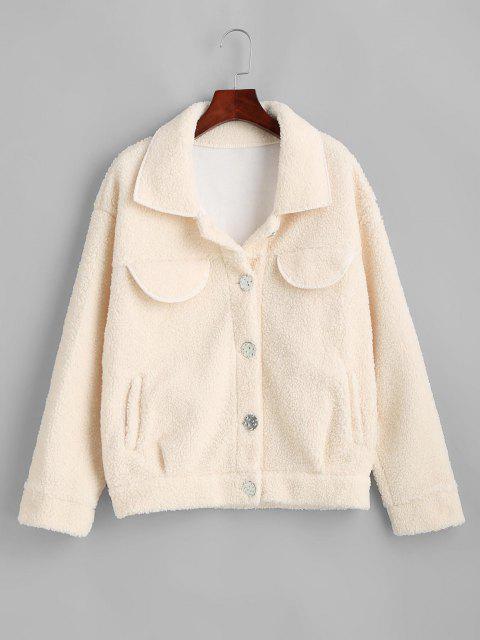 Flap Detail Pocket Teddy Coat - أبيض S Mobile