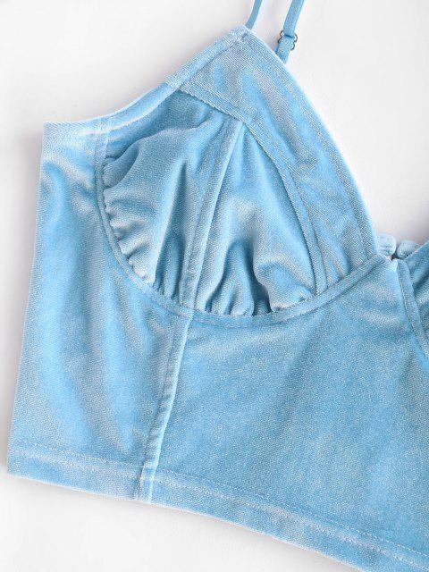 Haut à Bretelle Court en Velours - Bleu clair S Mobile