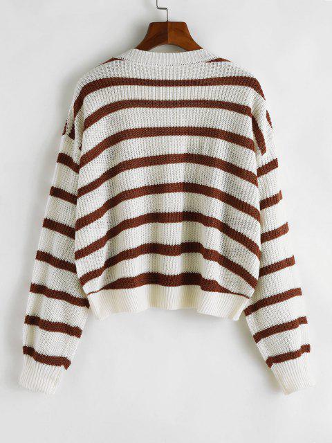 V Ausschnitt Streifen Geschnittener Pullover - Weiß L Mobile