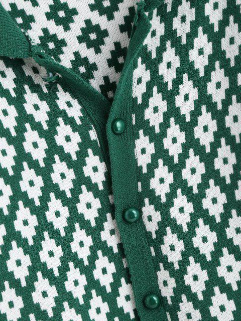 trendy Button Up Geo Graphic Cardigan - DEEP GREEN ONE SIZE Mobile