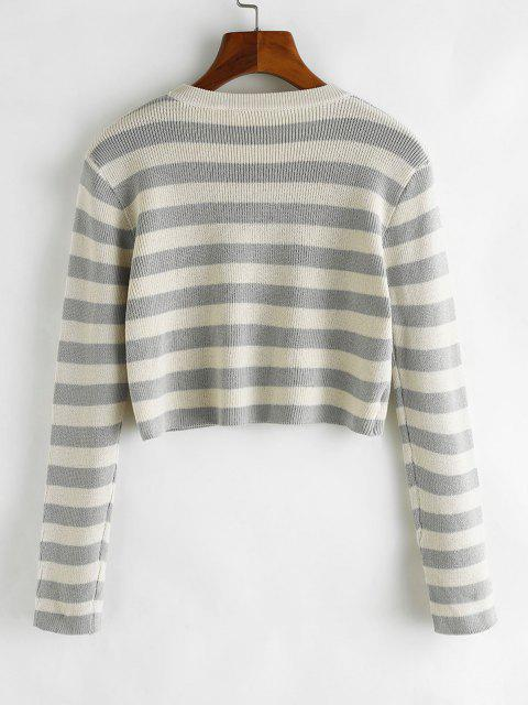 ladies Two Tone Striped Crop Jumper Sweater - DARK GRAY ONE SIZE Mobile