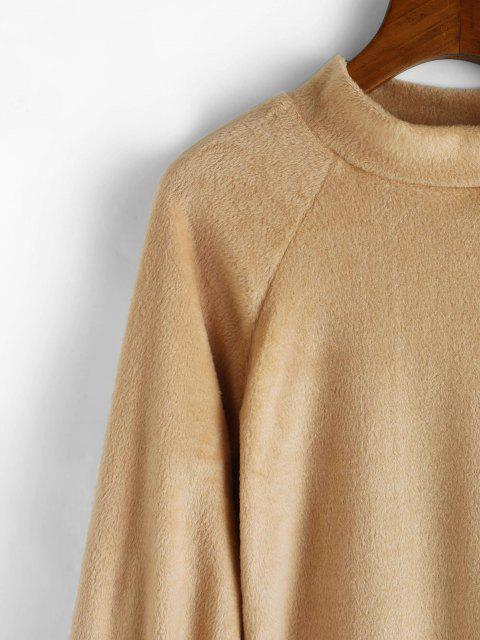 new Mock Neck Fuzzy Sheath Dress - LIGHT COFFEE L Mobile