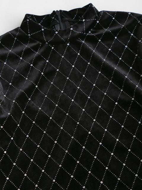 outfit Sparkly Rhombus Velvet Crop T Shirt - BLACK S Mobile