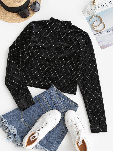 Sparkly Rhombus Velvet Crop T Shirt - أسود S Mobile