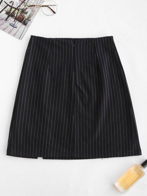 affordable Safety Pins Stripes Slit Mini Skirt - BLACK M Mobile