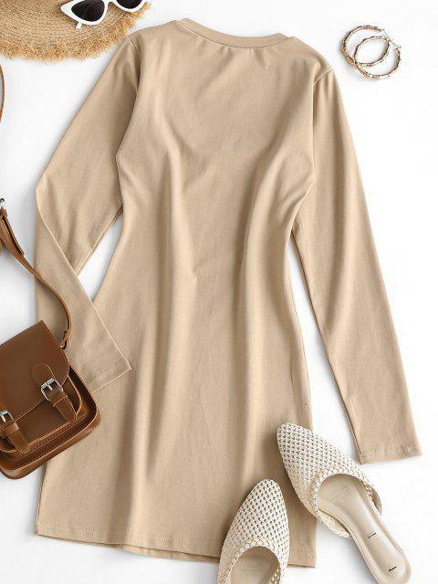 womens Long Sleeve Scoop Neck Mini Sheath Dress - LIGHT COFFEE M Mobile