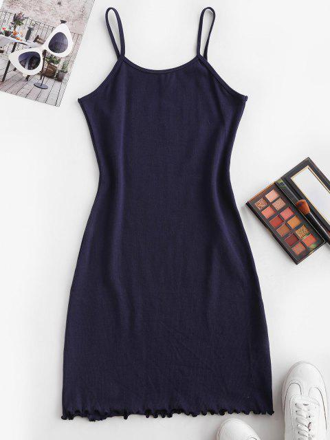 shop Ribbed Cami Slinky Mini Dress - DEEP BLUE S Mobile