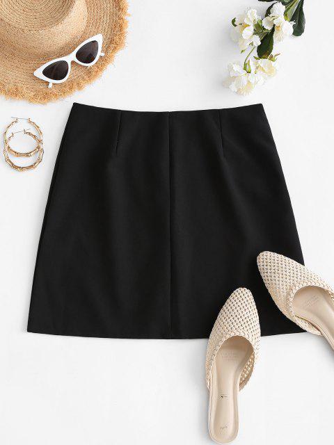 lady Plain Side Zipper Office Mini Skirt - BLACK L Mobile