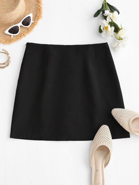 latest Plain Side Zipper Office Mini Skirt - BLACK S Mobile