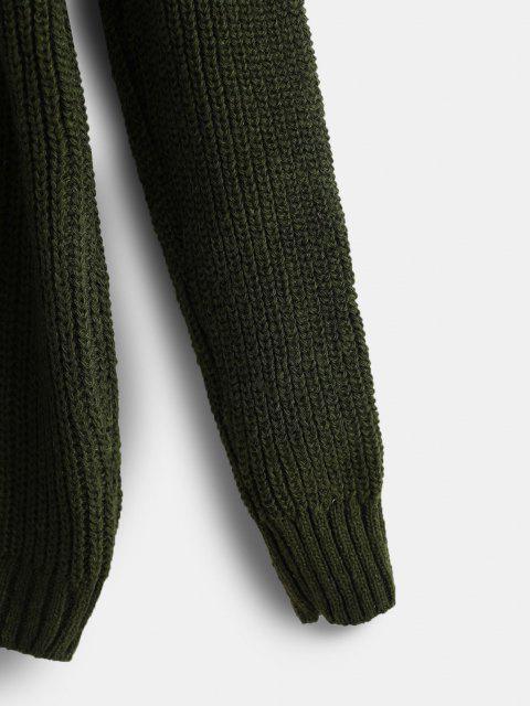 Pullover mit Hohem Ausschnitt und Offener Schulter - Dunkelgrün Eine Größe Mobile