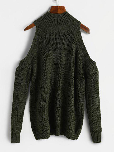 High Neck Cold Shoulder Sweater - ديب غرين حجم واحد Mobile