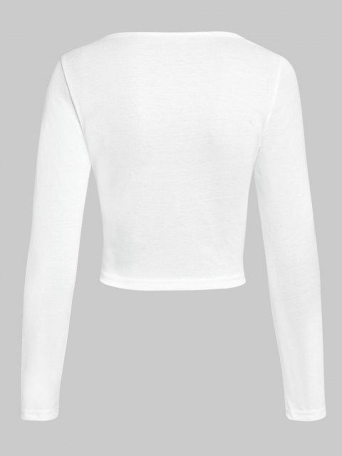 shop ZAFUL Keyhole Ruched Bust Crop T Shirt - WHITE S Mobile