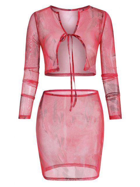 hot Tie Dye Sheer Mesh Tie Front Two Piece Dress - MULTI L Mobile