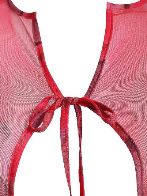 fashion Tie Dye Sheer Mesh Tie Front Two Piece Dress - MULTI S Mobile