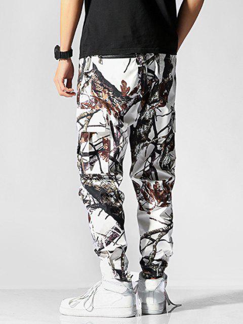 Rama de Árbol de Estampado de La Aleta del Bolsillo de Los Pantalones - Blanco 2XL Mobile